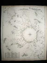 A Map of Principal Rivers: 1834 Antique Map. SDUK